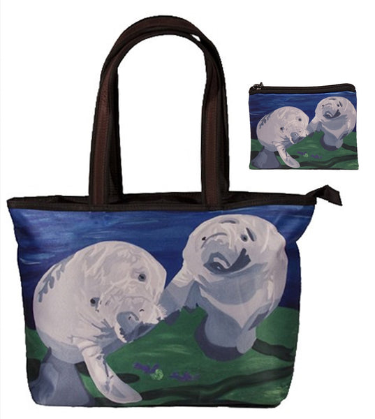 manatee handbag and matching change purse set