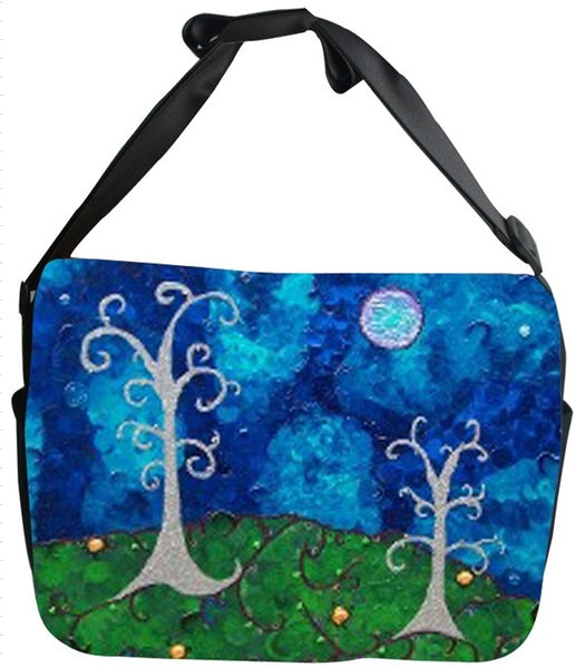Whimsical Trees Canvas Safari Style Messenger Bag - The Couple