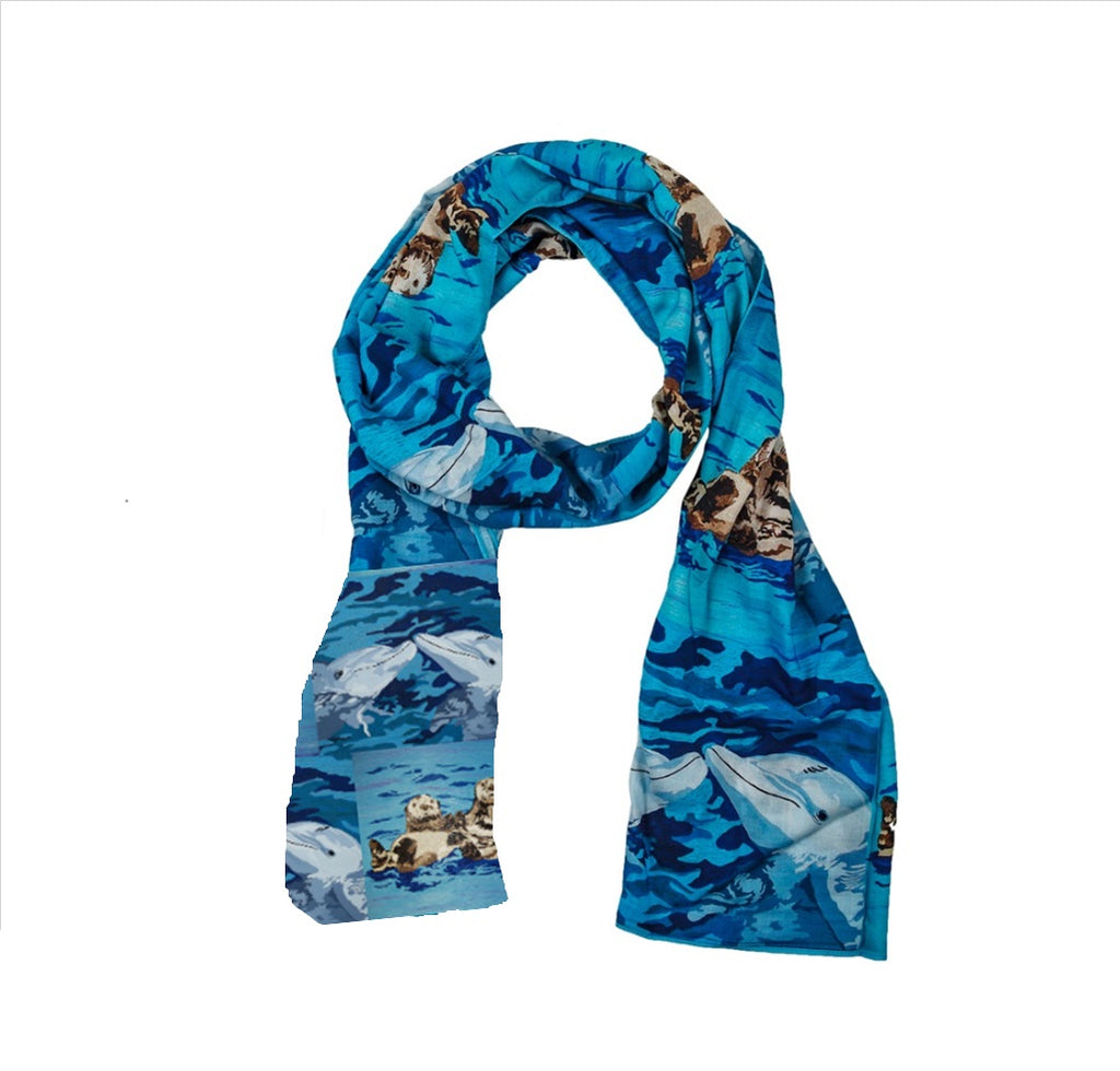 Ocean Animals Animal Viscose Scarf- Sea Otter and Dolphins - Best Friends and The Kiss