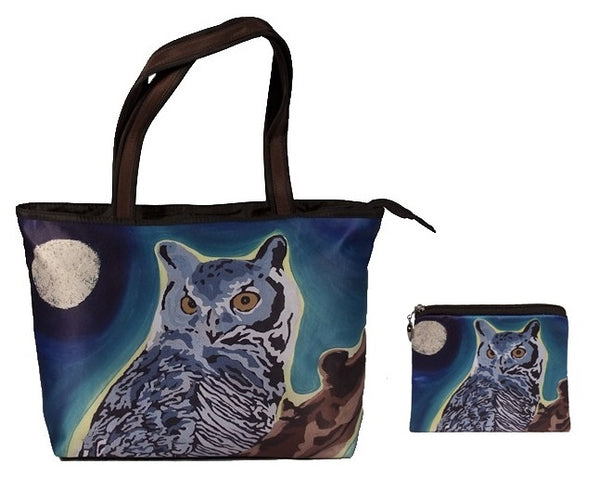 great horned owl tote bag and matching change purse