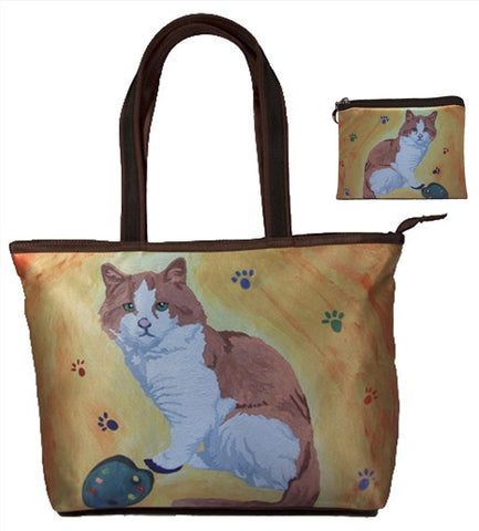 cat tote bag with matching coin purse