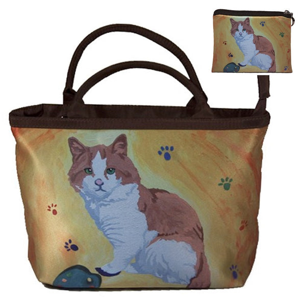 cat handbag and matching coin purse