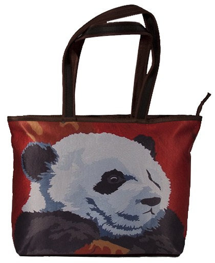 panda tote bag red