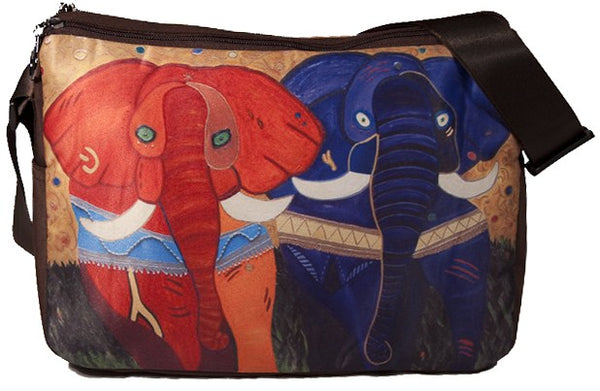 colorful african elephant messenger bag