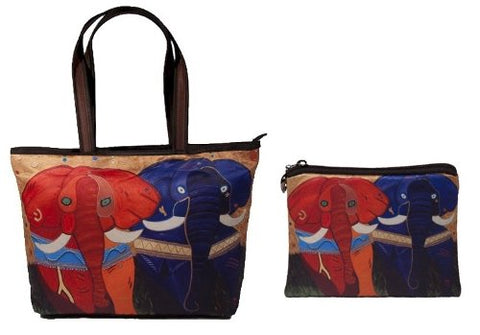 colorful african elephant tote bag and matching coin purse
