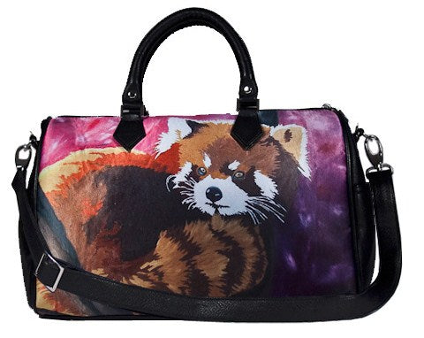 red panda vegan leather shoulder bag