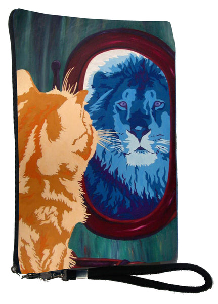 cat looks in mirror and sees his reflection as a lion wristlet