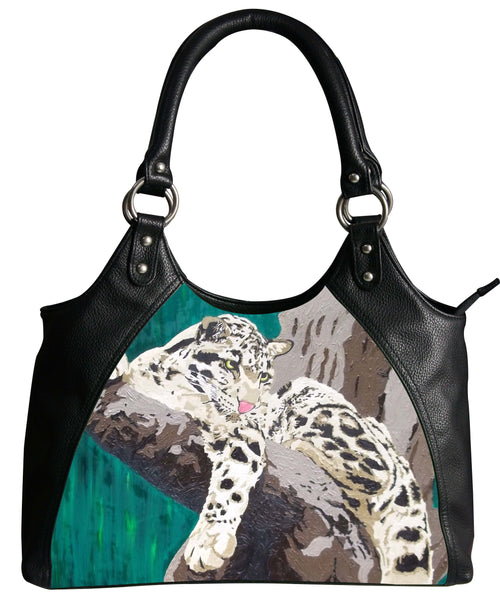 clouded leopard vegan leather shoulder bag