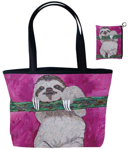 sloth tote bag and matching coin purse