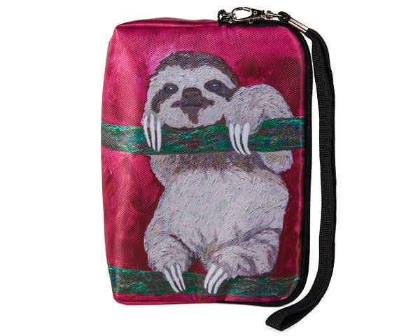 Sloth zip around vegan wristlet