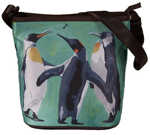 Caroling christmas penguins bag