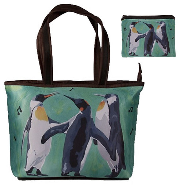 christmas penguins shoulder bag and matching change purse