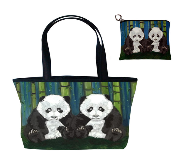 panda matching tote bag set