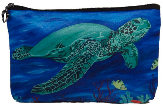 green sea turtle cosmetic bag