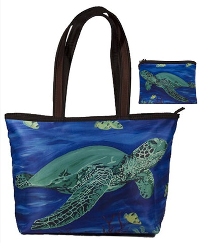 sea turtle tote bag and matching wallet