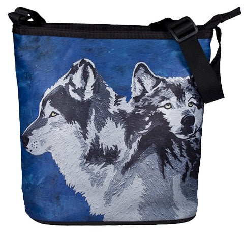 grey wolf large cross body bag