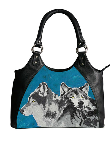 wolf leather shoudler bag