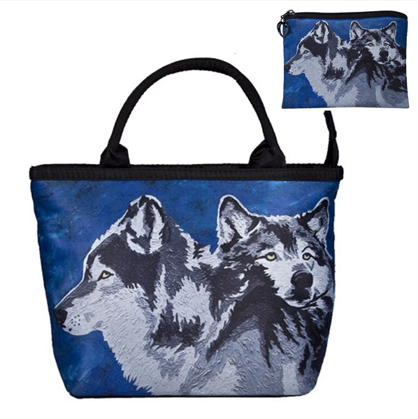 wolf handbag and matching coin purse