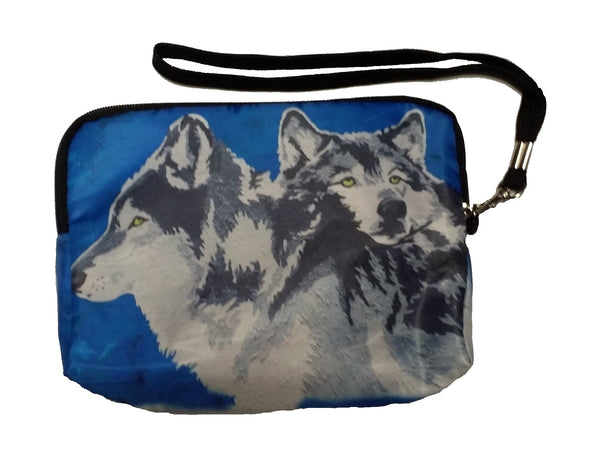 wolf zip around vegan wristlet