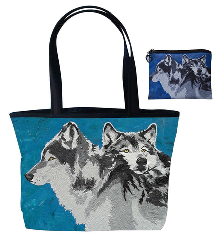wolf tote bag and matching change purse