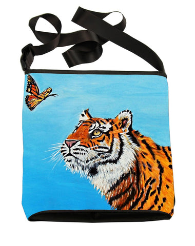 tiger looking ar butterfly cross body bag
