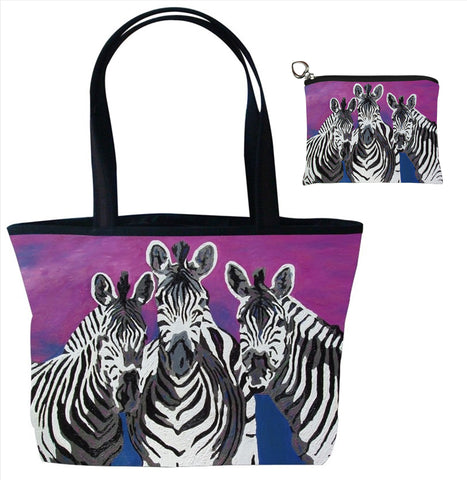 zebra tote bag and matching change purse