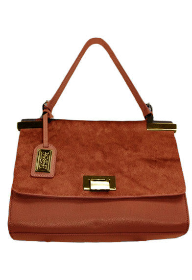 Satchel In Cognac With Gold Details