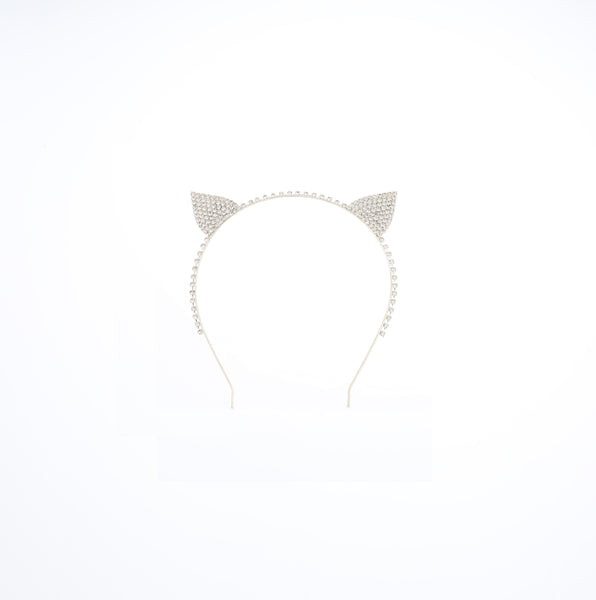 Silver Rhinestone Cat Ears Headband