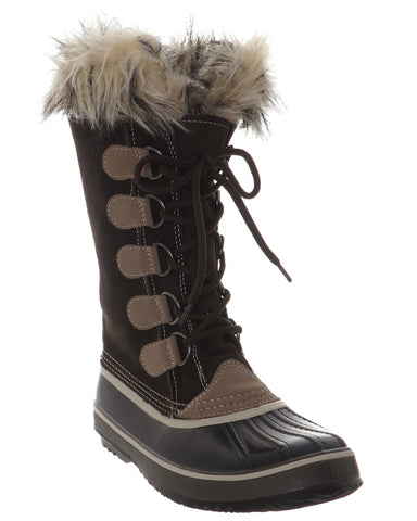 Black and Brown Lace Up Boot With Faux Fur Collar