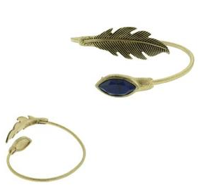 One Metal Diamond Dust Bangle With Feather and Acrylic Stones