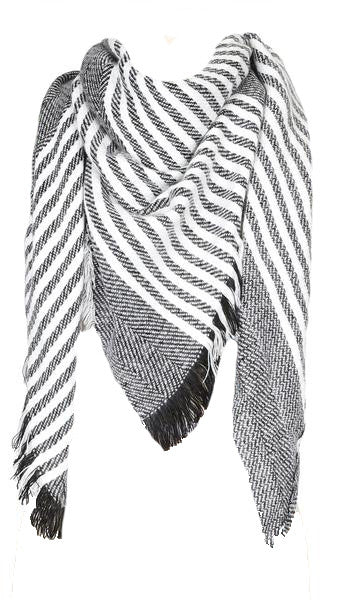 Grey and White Striped Scarf