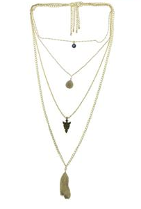 One 4 Row Necklace With Evil Eye, Arrow, and Feather