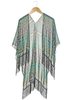 100% Polyester Floral,Tribal, and Chiffon Printed Kimono Scarf with Fringe