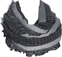 10% acrylic striped lofty loop scarf with frayed edges