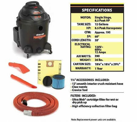 12 Gallon Wet/Dry Vacuum w/ Nozzle Vac Kit