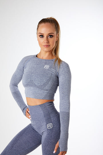 SEAMLESS LONG SLEEVE CROP STORM