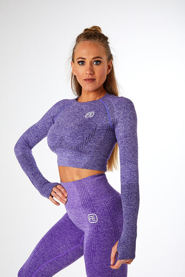SEAMLESS LONG SLEEVE CROP VIOLET