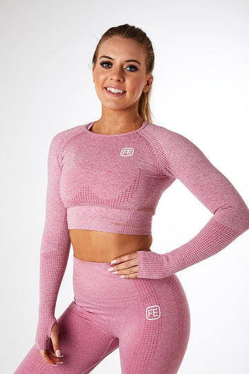 SEAMLESS LONG SLEEVE CROP ROSÉ