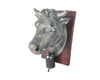"Birch Maison Decorative Primitive / Farmhouse Resin Cow Head on Board with Bell, Grey - 7.5"" Tall"