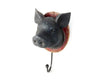 "Birch Maison Decorative Primitive / Farmhouse Resin Pig Head on Board with Hook, Black - 9.75"" Tall"