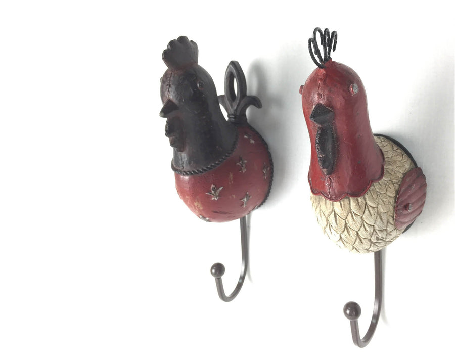 "Birch Maison Decorative Resin Primitive / Farmhouse Rooster Head with Hook / Hanger, Set of 2 - 9"" Tall"