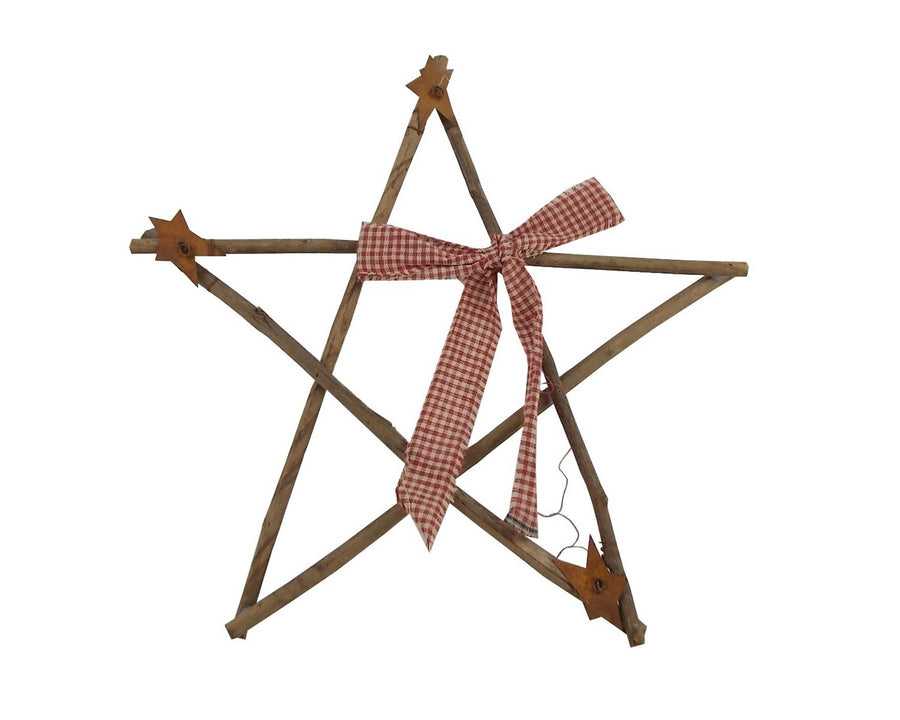 "Birch Maison Antique Birch Wood Primitive / Farmhouse Twig Star with Homespun Bow - 12"" Across"