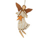 "Birch Maison Natural Wood Angel with Tin Ribbon and Bells, Christmas Ornament  - 14"" Tall"