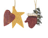 "Birch Maison Primitive Wooden Tree / Glove and Star / Heart, Christmas Ornaments, Assorted  - 2.5"" Tall"