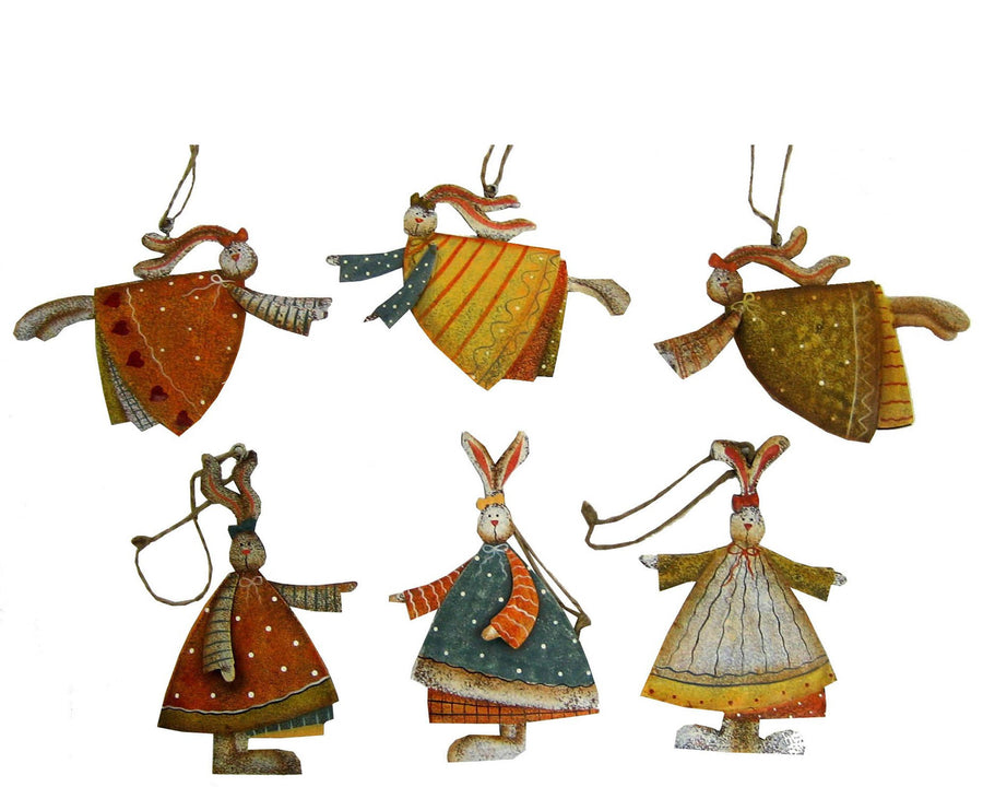 "Birch Maison Decorative Primitive Tin Bunny Angels, Ornaments, Assorted, Set of 6 - 4.5"" Tall"