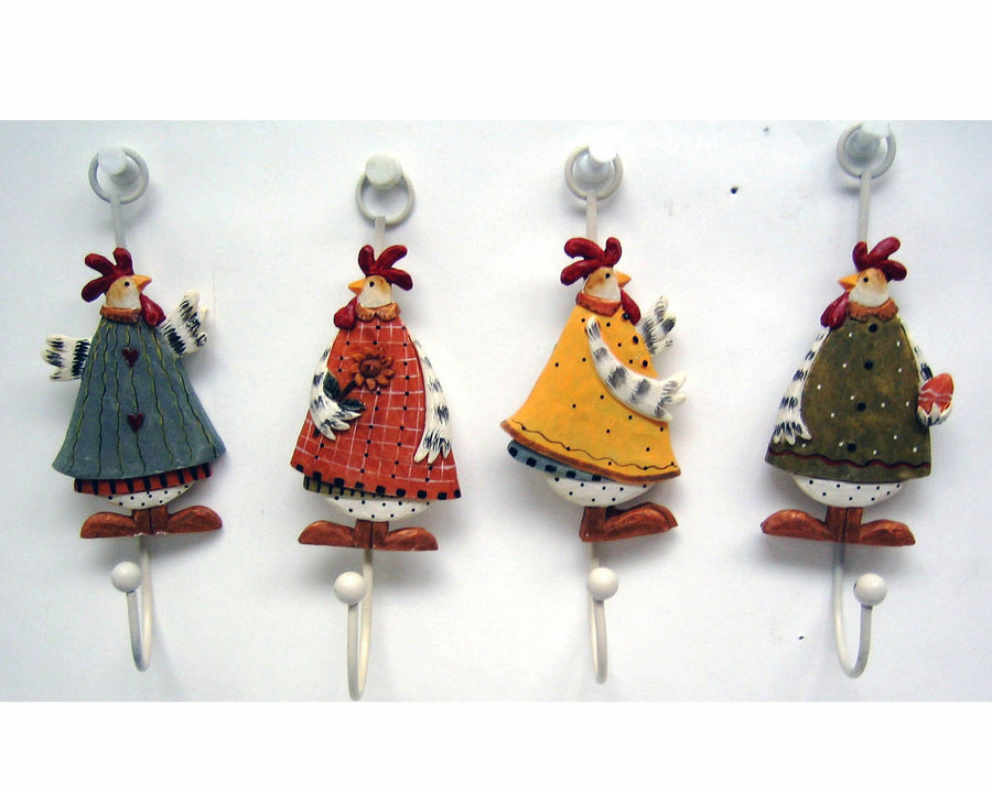 "Birch Maison Decorative Primitive / Farmhouse Resin Hooks with Hen Design, Assorted, Set of 4 - 5.5"" Tall"