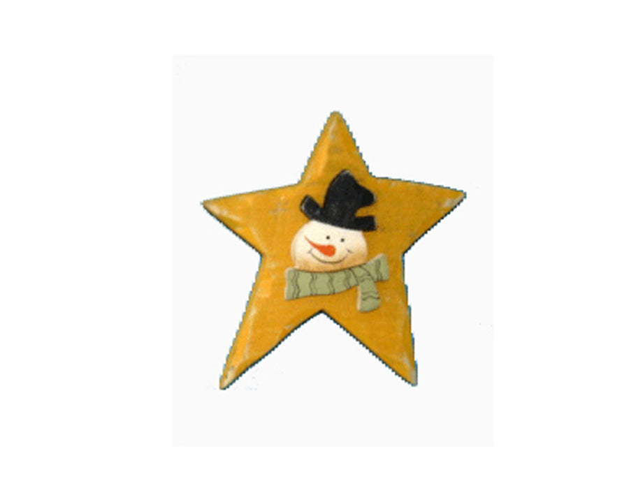 "Birch Maison Decorative Primitive / Farmhouse Wooden Star Magnet ""Snowman Face"", Mustard-Yellow - 3"" Tall"