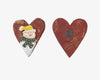 "Birch Maison Decorative Primitive / Farmhouse Heart Magnet with Snowman, Red - 2.875"" Tall"