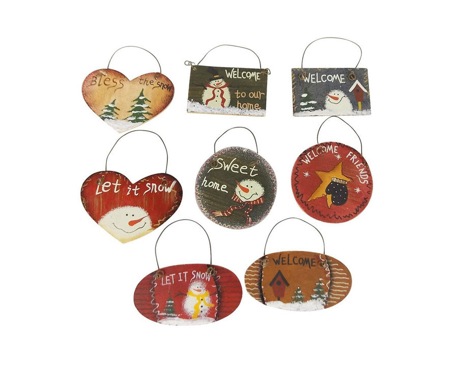 "Birch Maison Decorative  Primitive / Farmhouse Wooden Signs with Holiday Message, Assorted, Set of 8  - 2"" Tall"