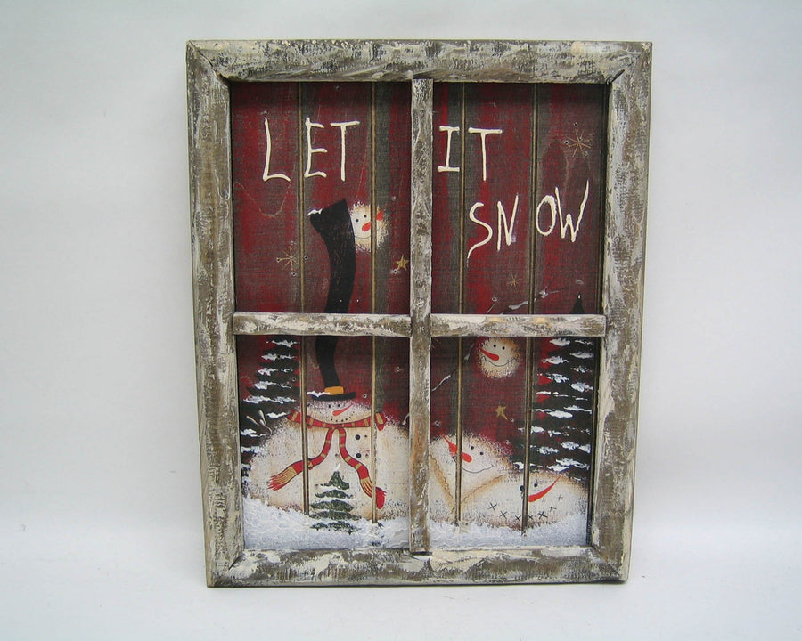 "Birch Maison Decorative Primitive / Farmhouse Wood Frame Window Scene with Snowmen Motif and LED Lights - 9.5"" Tall"